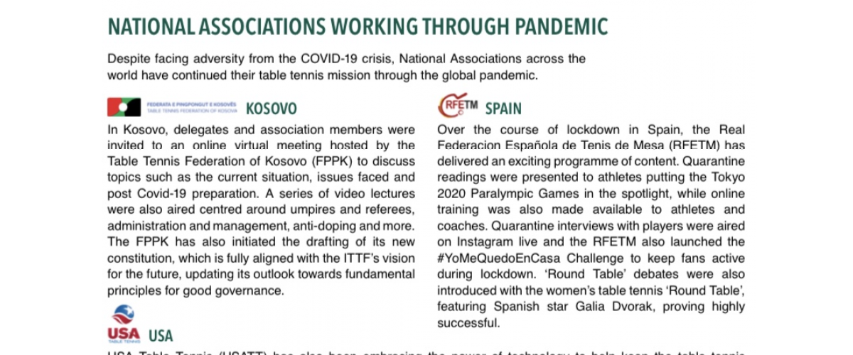 Kosova ne newsletter te ITTF te muajit qershor 2020