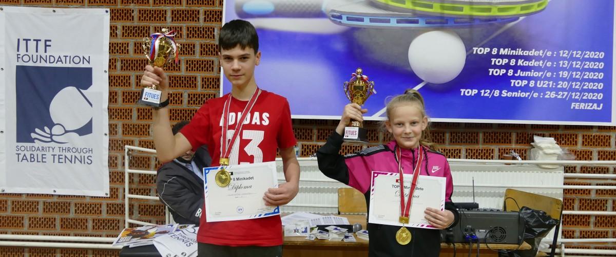 Taibe RULI dhe Adriatik MALOKU - Kampion te Kosoves ne turneun TOP 8 MINIKADET/E
